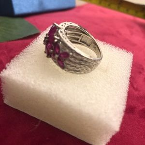Sterling Ruby ring with Ruby drop